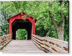 Sugar Creek Covered Bridge Acrylic Print by Sue Smith