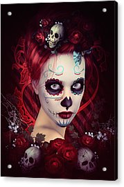Sugar Doll Red Acrylic Print by Shanina Conway