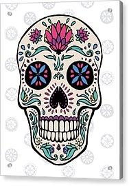 Sugar Skull II On Gray Acrylic Print