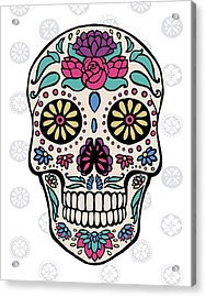 Sugar Skull IIi On Gray Acrylic Print by Janelle Penner