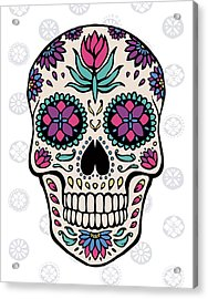 Sugar Skull Iv On Gray Acrylic Print by Janelle Penner