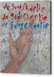 Je Suis Charlie Finger Painting To Al Qaeda Acrylic Print by Michael Dillon