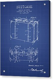 Suitcase Patent From 1928 - Blueprint Acrylic Print by Aged Pixel