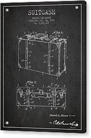 Suitcase Patent From 1928 - Dark Acrylic Print by Aged Pixel