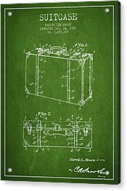 Suitcase Patent From 1928 - Green Acrylic Print by Aged Pixel