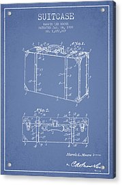 Suitcase Patent From 1928 - Light Blue Acrylic Print by Aged Pixel