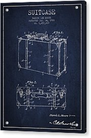 Suitcase Patent From 1928 - Navy Blue Acrylic Print by Aged Pixel