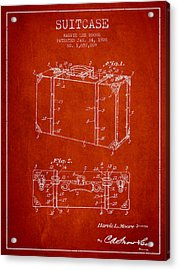 Suitcase Patent From 1928 - Red Acrylic Print by Aged Pixel
