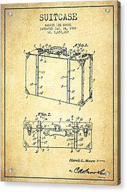 Suitcase Patent From 1928 - Vintage Acrylic Print by Aged Pixel