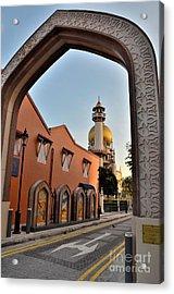 Sultan Mosque Arab Street Thru Arch Singapore Acrylic Print by Imran Ahmed