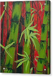 Sultry Bamboo Forest Acrylic Painting Acrylic Print