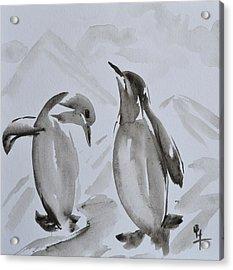 Sumi-e Penguin Dance Acrylic Print