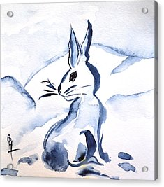 Sumi-e Snow Bunny Acrylic Print by Beverley Harper Tinsley