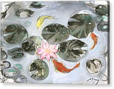 Sumie No.12 Triple Koi Acrylic Print by Sumiyo Toribe