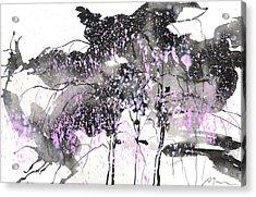 Sumie No.6 Weeping Willow Cheery Blossoms Acrylic Print by Sumiyo Toribe