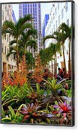Summer At Rockefeller Center Acrylic Print by Dora Sofia Caputo Photographic Art and Design