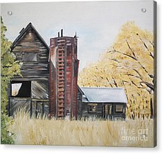 Acrylic Print featuring the painting Golden Aged Barn -washington - Red Silo  by Jan Dappen