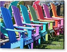 Summer Beach Chairs Acrylic Print by Jeannie Rhode