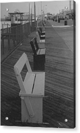 Summer Benches Seaside Heights Nj Bw Acrylic Print by Joann Renner