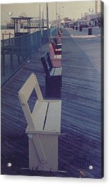 Summer Benches Seaside Heights Nj Acrylic Print by Joann Renner