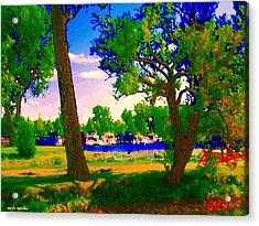 Summer Boats Moored Along Tree Lined Lachine Canal Quebec Landscapes  Montreal Art Carole Spandau Acrylic Print by Carole Spandau