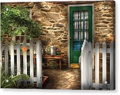 Summer - Cottage - Cottage Side Door Acrylic Print by Mike Savad