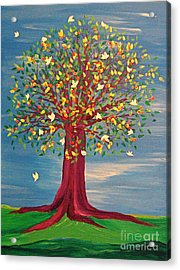 Acrylic Print featuring the painting Summer Fantasy Tree by First Star Art