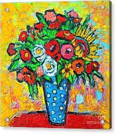Summer Floral Bouquet - Sunflowers Poppies And Roses Acrylic Print by Ana Maria Edulescu
