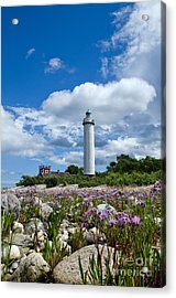 Acrylic Print featuring the photograph Summer Flowers At Lighthouse by Kennerth and Birgitta Kullman