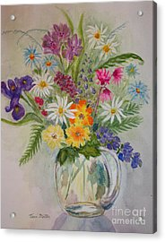 Summer Flowers In Vase Acrylic Print by Terri Maddin-Miller