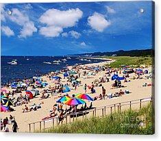 Summer Fun At Oval Beach Acrylic Print by Kathi Mirto