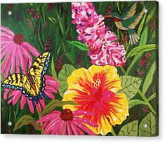 Acrylic Print featuring the painting Summer Garden by Ellen Levinson