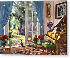 Acrylic Print featuring the painting Summer Garden View by Dominic Davison