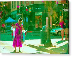 Summer Heatwave Too Hot To Walk Lady Hailing Taxi Cab At Hogg Hardware Rue Sherbrooke Carole Spandau Acrylic Print by Carole Spandau