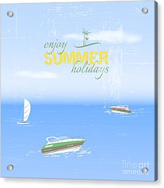 Summer Holidays Background By The Sea Acrylic Print