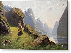 Summer In The Fjord Acrylic Print by Hans Dahl