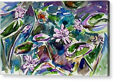 Summer Lily Pond Acrylic Print by Xueling Zou