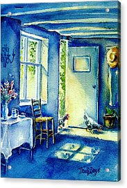 Acrylic Print featuring the painting Summer Morning Visitors  by Trudi Doyle