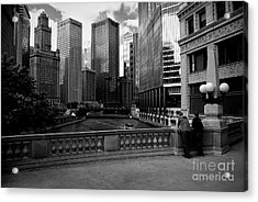 Summer On The Chicago River - Black And White Acrylic Print