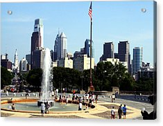 Summer Philly Skyline Acrylic Print by Christopher Woods