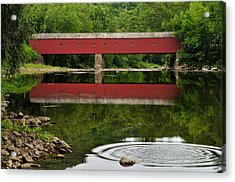 Summer Reflections At West Cornwall Covered Bridge Acrylic Print by Thomas Schoeller