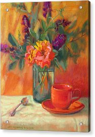 Summer Song- Orange Roses And Butterfly Bush Blooms Acrylic Print