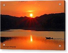 Summer Star Burst Sunset With Signature Acrylic Print