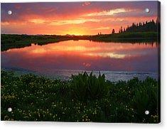 Summer Sunset Above Lake Creek. Acrylic Print