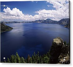 Summer Thunderstorms Over Crater Lake Acrylic Print by Panoramic Images