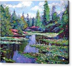 Summer Waterlilies Acrylic Print by David Lloyd Glover