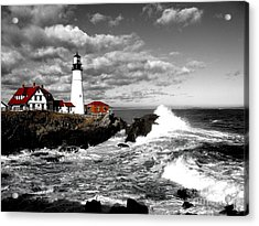 Summer Waves Red Stroke Bw Acrylic Print