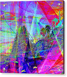 Summertime At Santa Cruz Beach Boardwalk 5d23930 Square Acrylic Print by Wingsdomain Art and Photography