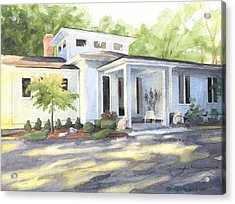 Sun And Shadow House Watercolor Portrait Acrylic Print by Mike Theuer