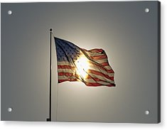 Sun Behind Stars And Stripes Acrylic Print by Chris Cameron